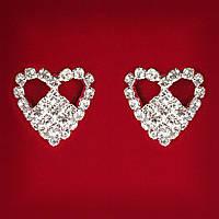 [25 мм] Серьги женские белые стразы светлый металл свадебные вечерние гвоздики (пуссеты) сердце со вставкой средние