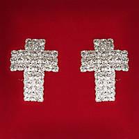 [30 мм] Серьги женские белые стразы светлый металл свадебные вечерние гвоздики (пуссеты) крестик крупные