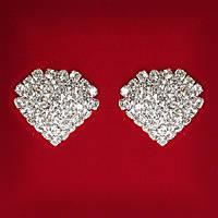 [25 мм] Серьги женские белые стразы светлый металл свадебные вечерние гвоздики (пуссеты) сердце среднее