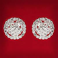 Женские Белые Стразы Светлый Металл Свадебные Вечерние (Пуссеты) Бант Крупные И Мелкие Стразы Клипсы