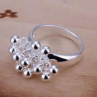 """Кольцо женское стильное покрыто серебром """"Гроздь"""""""