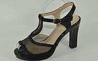 Босоножки черные на каблуке сетка эко-кожа Размер 36, 37