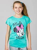 Трикотажная футболка для девочки МинниМаус мята