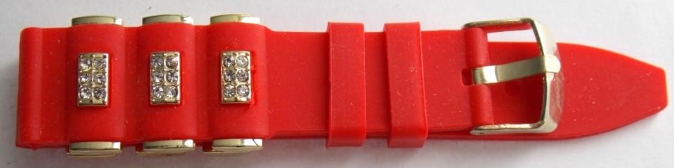 Ремешок каучук Рельефный (Польша) 20 мм. Стразы красный