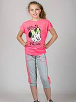 Трикотажная футболка для девочки МинниМаус розовая.