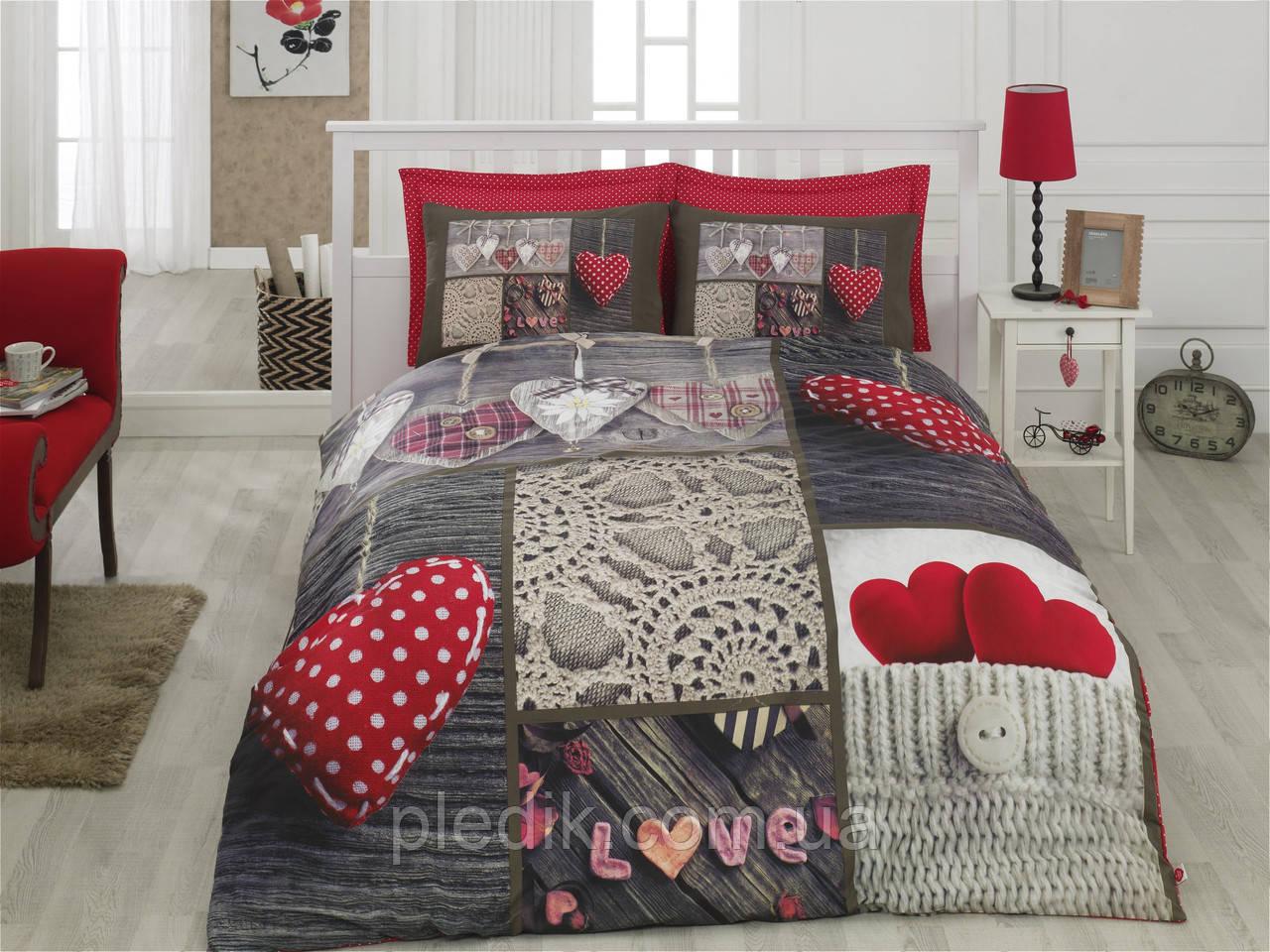 Двуспальное постельное белье 200х220 Cotton box 3D Ранфорс NINA KIRMIZI