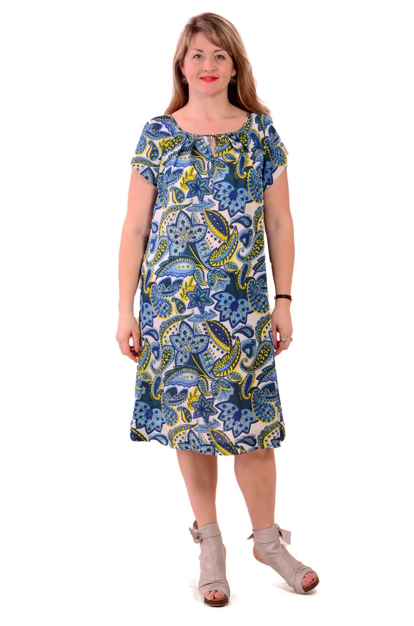 Синє літнє плаття з шовку холодок , пл 002, огірки