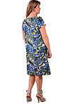Синее платье летнее из шелка холодок , пл 002, огурцы, фото 2