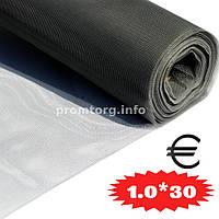 """Сетка москитная стекловолокно """"EURO FIBERGLASS"""" 1.0м*30пог.м (115г/м2) цвет серый"""