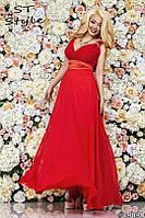 Элегантное вечернее платье в пол с атласным пояском, большие размеры 48-50, 50-52! Разные цвета!