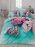 Двуспальное постельное бельё 200х220 Cotton box 3D Ранфорс FLORA TURKUAZ бирюзовое