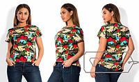 Модная женская футболка туника большого размера