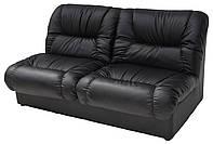 [ Диван офисный Vizit 02 D-5 + подарок ] Двухместный прямой мягкий диван кожзаменитель черный
