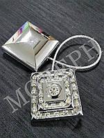 Магнит-подхват для штор Квадрат со стразами цвет серебро