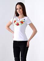 Вышитая футболка  Цветочное ожерелье