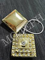 Магнит-подхват для штор Квадрат со стразами цвет золото
