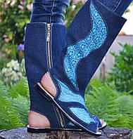 Джинсовые сапожки с гипюром IK-1660 (голубой)