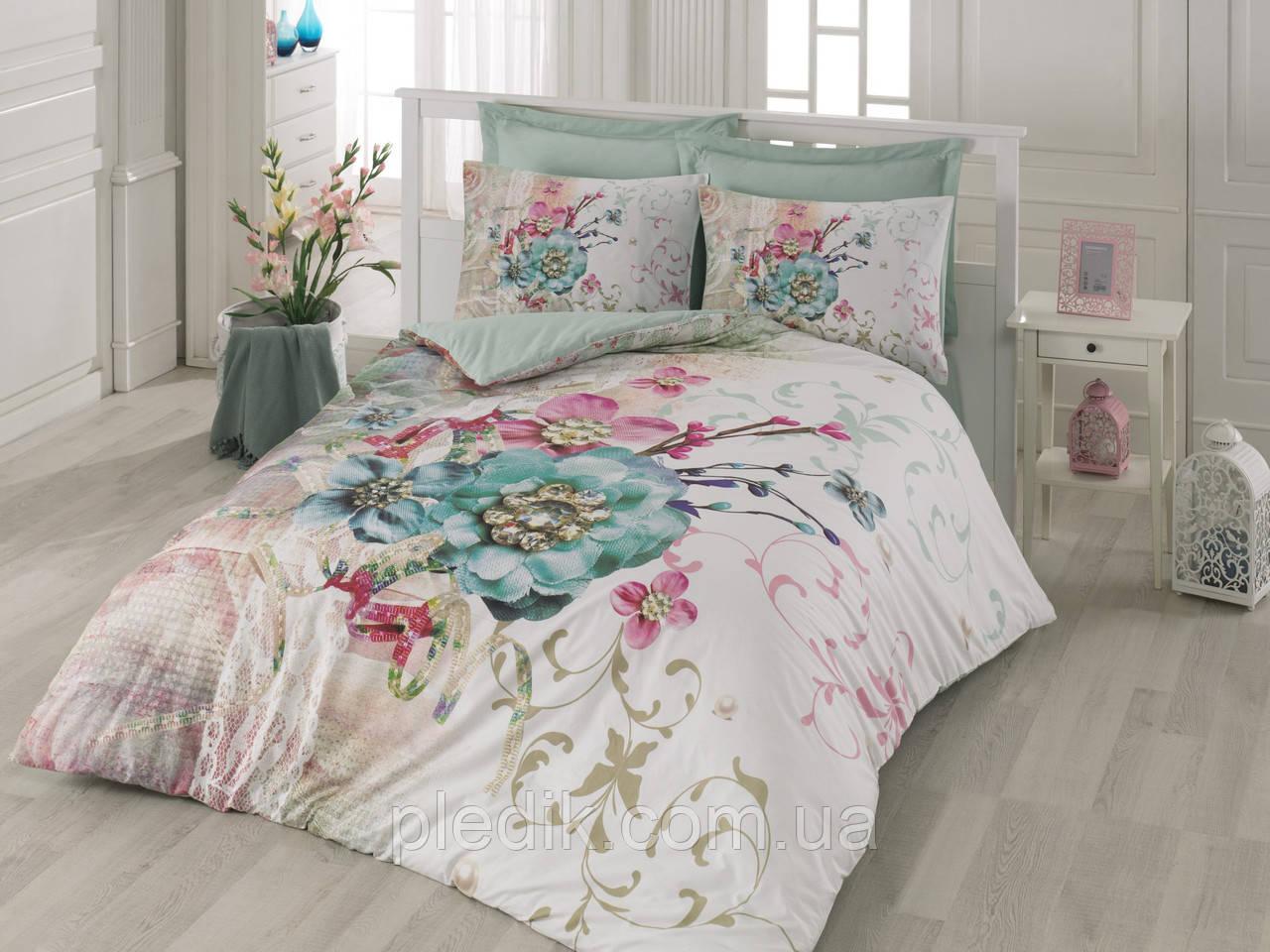 Двуспальное постельное белье 200х220 Cotton box 3D Ранфорс NORMA TURKUAZ