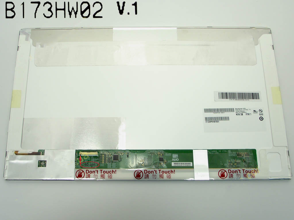 "Матрица 17.3"" B173HW02 V.1 (1920*1080, 40pin, LED NORMAL, матовая, разъем слева внизу) для ноутбука"