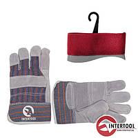 """Перчатки """"Intertool"""" рабочие кожаные (замш.+ ткань) (SP-0014)"""