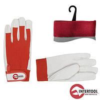"""Перчатки """"Intertool"""" рабочие кожаные (манжет на липуч) (SP-0012)"""