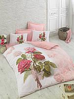 Двуспальное постельное бельё 200х220 Cotton box 3D Ранфорс MELODIPEMBE, персиковый с розами