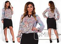 Стильная блуза в больших размерах в расцветках т-20211