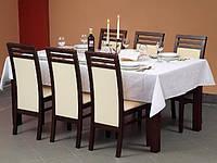 Стол обеденный деревянный SAMBA 100x100 орех темный Halmar + стулья SYLWEK 4