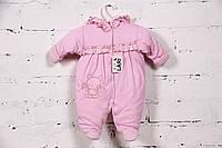 """Комбинезончик для новорожденной девочки  """"Рюша"""" на хлопковом подкладе (розовый)"""