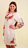Женское платье из лёна вышитое розами