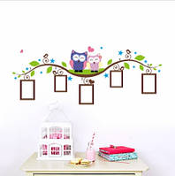 Наклейка виниловая Рамочки для семейных фото с совами 3D декор