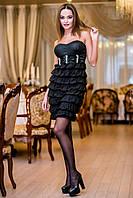 Черное платье с юбкой рюш