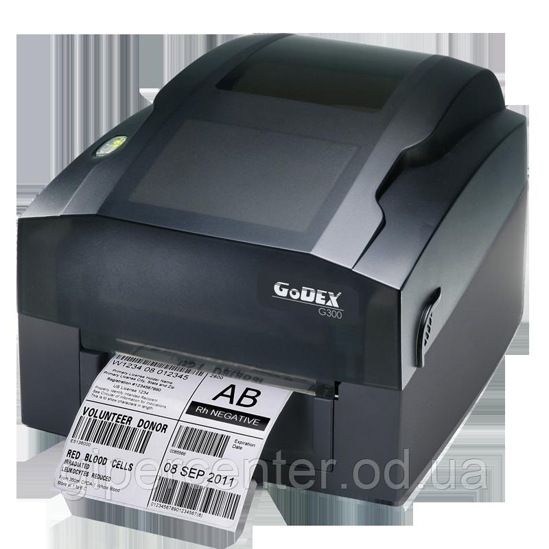 Принтер этикеток Godex G-300 (USB+RS232+Ethernet), 203 dpi