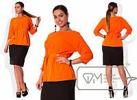 Стильная блуза с поясом Батал в расцветке е-20220