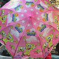 Детский зонт Спанч Боб от компании Star Rain полуавтомат, 2 сложения, 8 спиц