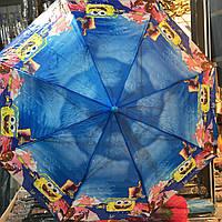 Детский зонт Спанч Боб 2, полуавтомат, 2 сложения, 8 спиц