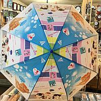 Детский зонт трость Кошки 2 , полуавтомат, 8 спиц