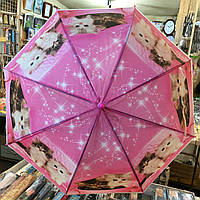 Детский зонт трость Кошки 3, полуавтомат, 8 спиц
