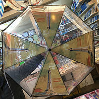 Прозрачный женский зонт-трость Париж 3