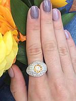 Кольцо серебряное 925 пробы с желтым фианитом