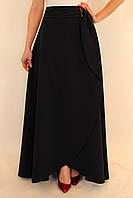Длинная юбка с запахом 44-52 р ( темно-синий, оливковый, электрик, коралловый, бирюзовый )