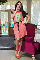 Женское удобное повседневное летнее платье с кармашками   XXL+