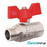 Кран шаровой ручка бабочка SD Forte БГШ вода (1009G)
