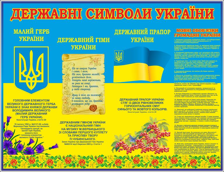 Стенд Державні символи України (70609), цена 1 546 грн., купить ...