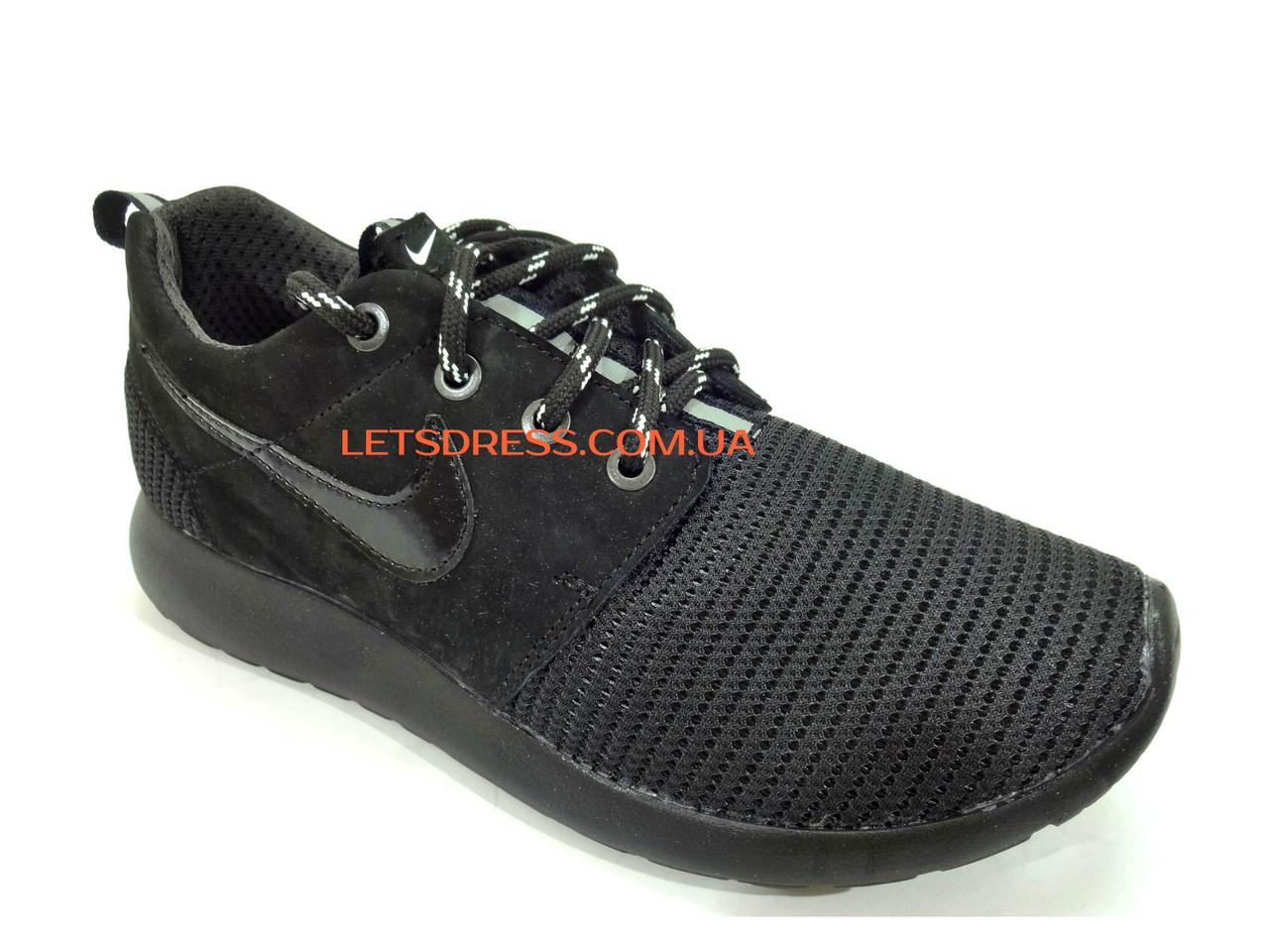 Женские кроссовки Nike Roshe Run черные на черной подошве с черным логотипом