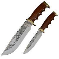 """Набор ножей Спутник """"Туризм-2"""" (длина: 31cm, 23cm, лезвие: 18.2cm, 12cm), в кожаных ножнах"""