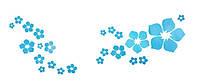 Наклейка виниловая Цветочки голубые 3D декор