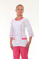 Стильный женский медицинский костюм розовый с белым х/б