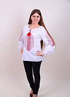 Женская вышитая блуза красным орнаментом, хлопок