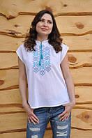 Белая женская вышиванка с коротким рукавом и голубой вышивкой Ж05-317, фото 1